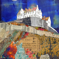 Edinburgh Castle Mixed Media Art Print (Blue)