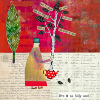 Tree Planter Mixed Media Art Print