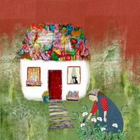 Tending to my Garden Mixed Media Print