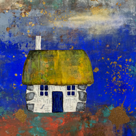 Scottish Bothy Landscape Mixed Media Print