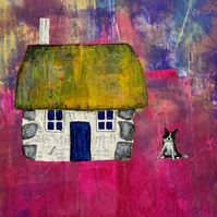 Scottish Bothy and Sheepdog Mixed Media Print