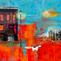 Street Life Mixed Media Art Print