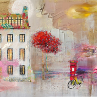 Street Life Mixed Media Art Print (flamingo))