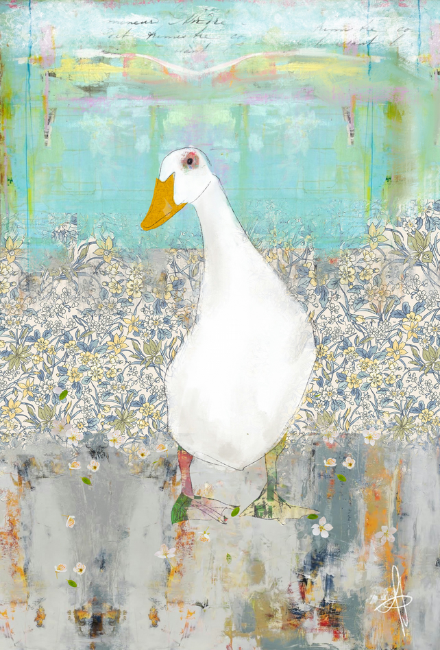 Duck Mixed Media Art Print