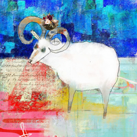 Goat Mixed Media Art Print
