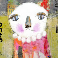 Quirky Cat Mixed Media Art Print