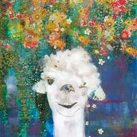 Llama Mixed Media Art Print