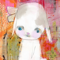Quirky Rabbit  Mixed Media Art Print