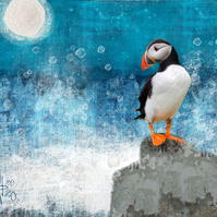 Puffin mixed media art print