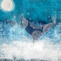 Whale tail mixed media art print