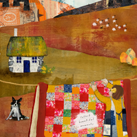 Bothy and Quilt mixed media art print