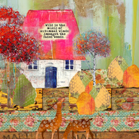 Autumnal Bothy mixed media art print