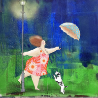 Dancing in the rain mixed media art print