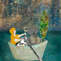 Let's sail away mixed media art print
