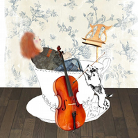 Teacup music mixed media art print