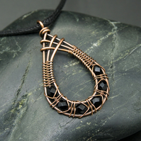 Copper Wire Weave Fishtailed Drop Pendant with Faceted Black Glass Beads