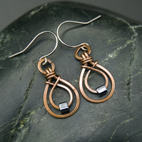 Hammered Copper Double Teardrop Earrings with Dark Grey Glass Cube Beads