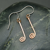 Musical Notation Earrings - Hammered Copper Crotchet - Quarter Note