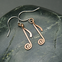 Musical Notation Earrings - Hammered Copper Quaver - Eighth Note