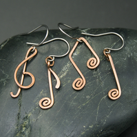 Mis-Matched Musical Notation Earrings - Hammered Copper Earrings