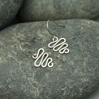 Hammered Sterling Silver Squiggle Earrings