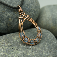 Copper Wire Weave Fishtailed Drop Pendant with Pale Blue Faceted Glass Beads