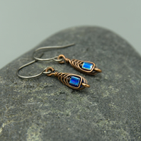 Copper Wire Wrapped Cobalt Blue AB Cube Earrings
