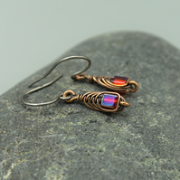 Copper Wire Wrapped Red AB Glass Cube Earrings