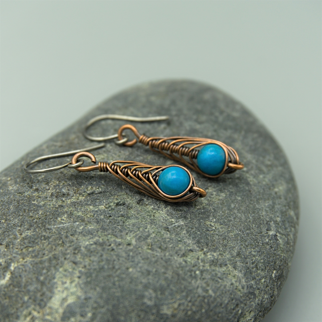 Copper Wire Wrapped Herringbone Drop Earrings with Turquoise Howlite Beads