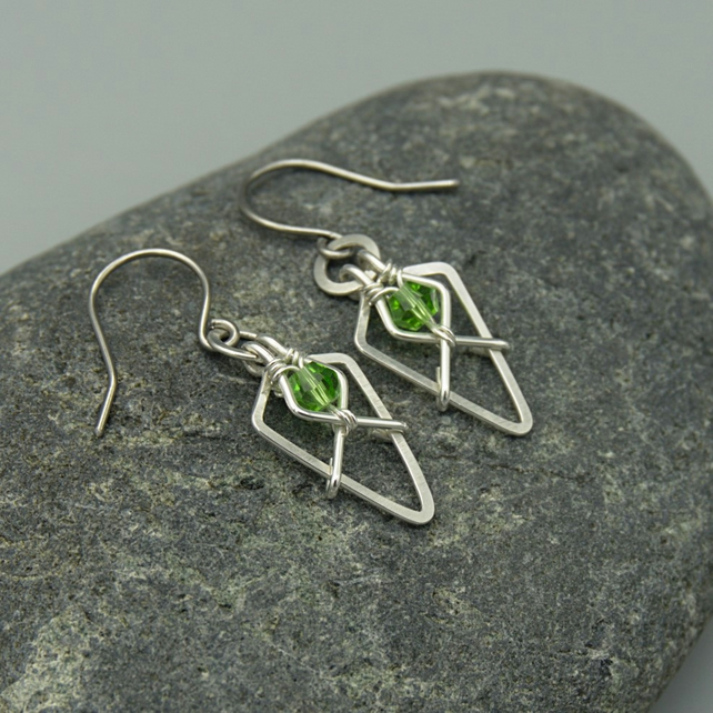 Hammered Sterling Silver Arrowhead Earrings with Light Green Faceted Glass Beads