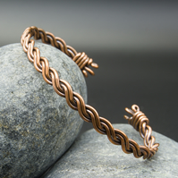 Twisted Copper Bangle - Narrow Twisted Cuff