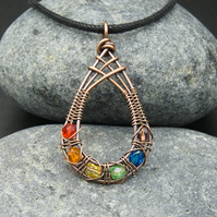 Copper Wire Weave Fishtailed Rainbow Drop Pendant with Faceted Glass Beads