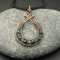 Copper Wire Weave Fishtailed Drop Pendant with Chrysocolla Beads