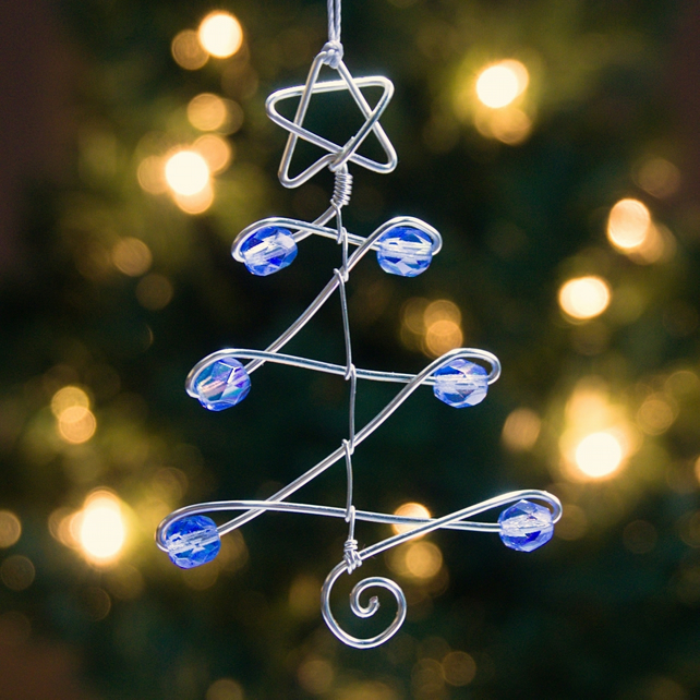 Set of Three Wire Christmas Tree & Star Decorations with Blue AB Glass Beads