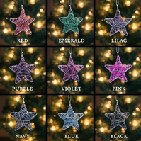Set of Four Mini Scribble Star Decorations - Pick & Mix Colours