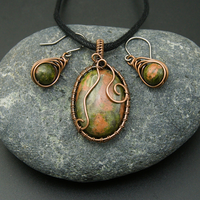 Copper Wire Weave Wrapped Unakite Pendant & Matching Earrings