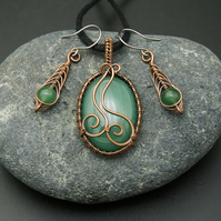 Copper Wire Weave Wrapped Green Aventurine Pendant & Matching Drop Earrings