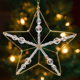 Set of Three Beaded Wire Star Decorations - Gold with Glass Crystal Facets