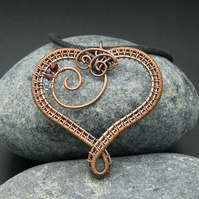Customisable Copper Wire Weave Heart Birthstone Pendant - 7th Anniversary gift