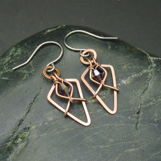 Hammered Copper Arrowhead Earrings with Dark Purple Faceted Glass Beads