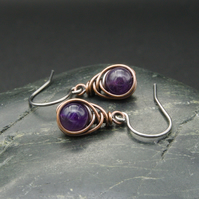 Copper Wire Wrapped Amethyst Earrings