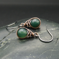 Copper Wire Wrapped Green Moss Agate Earrings