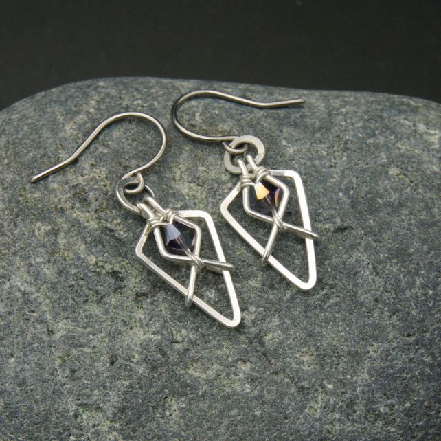 Hammered Sterling Silver Arrowhead Earrings with Dark Purple Faceted Glass Beads