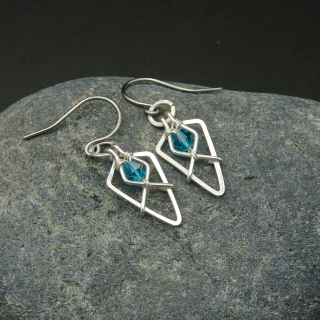 Hammered Sterling Silver Arrowhead Earrings with Turquoise Glass Faceted Beads