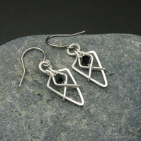 Hammered Sterling Silver Arrowhead Earrings with Black Faceted Glass Beads