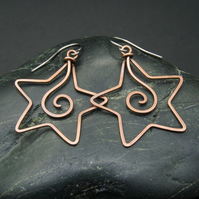Hammered Copper Star Spiral Earrings