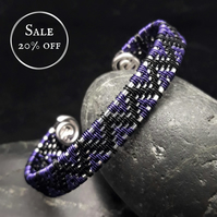 SALE - Wire Woven Zigzag Cuff Bracelet - Black & Dark Purple