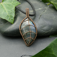 Copper Wire Wrapped Labradorite Leaf Pendant