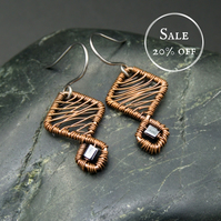 SALE - Copper Wire Weave Geometric Earrings with Dark Grey Metallic Beads