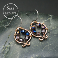SALE - Hammered Copper Earrings with Purple & Metallic Blue Beads